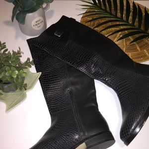 INC Black Leather Knee Boots 7.5